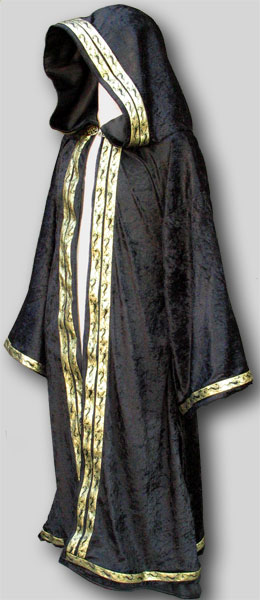 Pictured Wizard Robe in velvet+double trim opening+trim sleeves+trim bottom & Open (Wizard) Robe made in USA