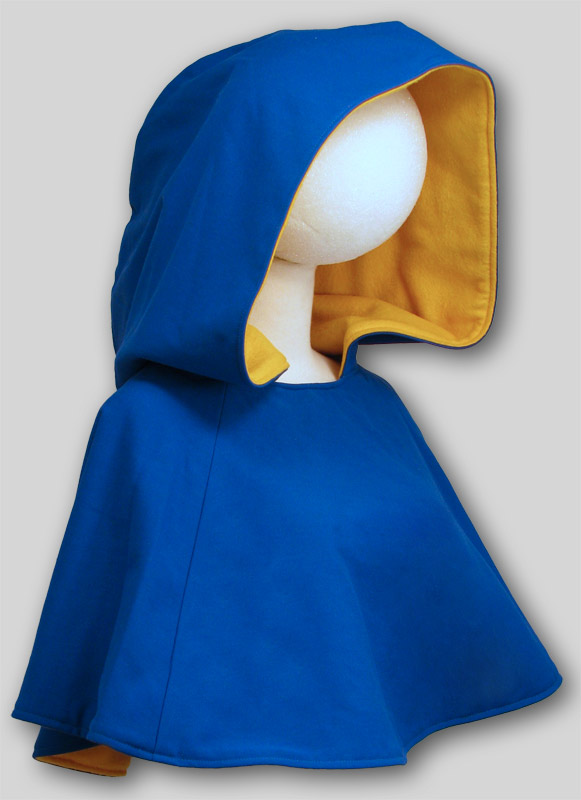 Cowl with hood  Canvas lined Fleece  Blue Yellow H105