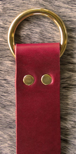 Leather Ring Belt  Red