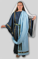 Pictured: Blue Female Dalmatica with trim 238, Light blue Palla with trim 237, trim belt, white veil, rope sandals